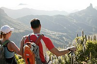 Mate, hikers, stands, back view, pause, traveling_equipment, mountains, close_up,