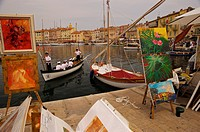 France, Provence, Saint Tropez, harbor, promenade, take_out, paintings, South_France, Cote d´Azur, French Riviera, sea, Mediterranean, harbor_promenad...