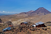 New Zealand, north_island, Mount Ruapehu, Whakapapa Skifield, view, Mount Ngauruhoe, alms, Tongariro National park, national_park, reservation, mounta...