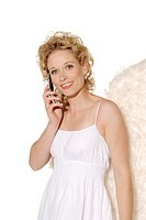 Woman, young, blond, angel wings, smiling, telephones cheerfully, cell phone, semi_portrait, christmas, people, christmas_angels, angels, angel_outfit...
