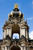 Germany, Saxony, Dresden, Dresdner Zwinger, crown_gate, front view, provincial capital, landmark, sculptures, gate tower, architecture, construction, ...