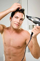 Man, attractively, hair, blow_dries, hair dryer, semi_portrait,