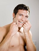 Man, attractively, tooth_care, dental floss, portrait,
