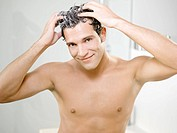 Man, attractively, hair, cleaning, foam, semi_portrait,