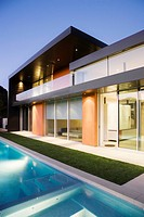 Exterior of modern house, swimming pool