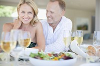 Couple enjoying elegant dinner