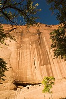 USA, Arizona, Chinle.   Canyon de Chelly National Monument in the Navajo Indian Reserve.  The White House Ruin cliff dwelling viewed from the canyon f...