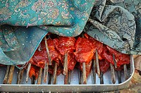 Mutton shish kabobs for sale in Leh, Ladakh, India