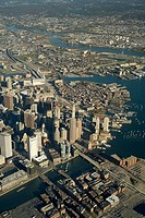 Downtown aerial view, 3500', Fort Point Channel at bottom, looking north over Charlestown, Boston, Massachusetts, USA