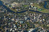 Harvard University (Science Center at bottom, Harvard Yard in middle, Charles River, looking south to Allston), aerial view, 2000', Cambridge, Massach...