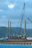 Sint Maarten, Philipsburg, the first piles for the new mega cruise ship pier are put in the harbour