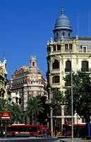 Valencia, old style houses and appartment buildings at the town hall square or plaza del ayuntamiento