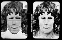 Photofit composite and drawing. Photofit composite left and a drawing of the same suspect made by a police artist right. Both depictions are based on ...
