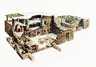 Roman life in Galilee, artwork. This cutaway artwork shows everyday like in Galilee one of the regions of Judea at the time of the Romans. It is based...