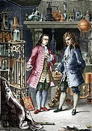 Denis Papin and Robert Boyle. Engraving of the French scientist Denis Papin 1647_ 1712, and Irish chemist Robert Boyle 1627_ 91, discussing their expe...