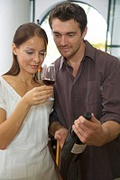 Young couple wine tasting in Cape Town, Western Cape Province, South Africa