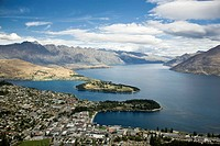 City center area of Queenstown, South Island, New Zealand  This is a popular snow skiing area and summer resort for vacationers  Also popular for othe...