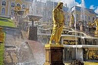 Golden statues and water works at Peterhof Park. Petrodvorets. St. Petersburg. Russia.