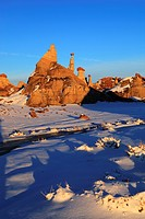 Bisti Badlands, Monolith, Sandstone, Winter, Lands