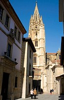 Spain, Asturias. Oviedo. Santa Ana Street and Cathedral in the backround