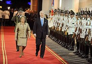 Santiago Chile march 28 2009 The President of Chile Michelle Bachelet (L) and US Vice President Joseph Biden review a guard of honor upon arrival at L...