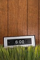 Studio shot of retro alarm clock placed in grass with wood paneling in background