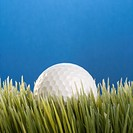 Studio shot of a baseball resting in grass