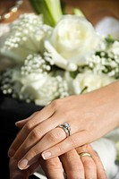 Caucasian mid_adult male and female hands with wedding rings