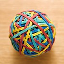 Still life of colorful rubber band ball