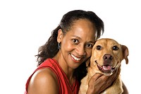 African American prime adult female with dog