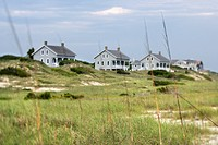 Scenic houses at coast of Bald Head Island, North Carolina