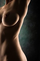 Side view of nude Caucasian female body