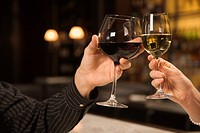 Mid adult Caucasian male and female hands toasting wine glasses