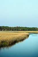 Scenic marsh landscape on Bald Head Island, North Carolina