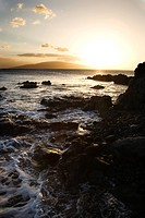 Scenic rocky coast during sunset