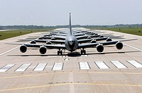 Six KC_135 Stratotankers demonstrate the elephant walk formation as they taxi