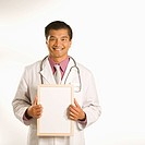Asian American male doctor holding blank sign