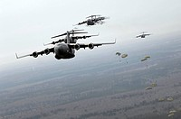 C_17 Globemaster IIIs participate in a large formation exercise