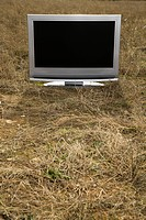 Flat panel television set in grassy field