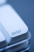 Close up of enter key on computer keyboard