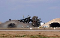 An F_16 Fighting Falcon takes off