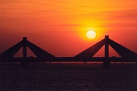 bahrain, bridge, sunset