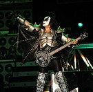 Santiago Chile 03 April 2009 bassist and vocalist Gene Simmons of Kiss band New York during a presentation at the Pepsi Fest held at the municipal sta...