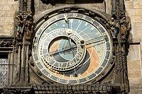 Czech republic. Prague.Old Town Square.  Astronomical Clock, built in to one side of the Old Town Hall Tower, dates from the 15th century. The process...