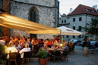 People sitting at a restaurant in the Old Town Square, Stare Mesto, Prague, Czech Republic