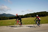 Sep 2008 - People riding bicycle along Route des Cretes Route of the Crests, in the Vosges mountains, Alsace, France