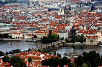 View over charles bridge and Stare Mesto from Petrin Hill, Prague, Czech Republic