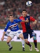 antonio cassano and salvatore bocchetti, genova 2009, serie a football championship 2008_2009, genoa_sampdoria