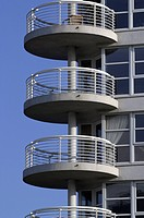 Round shaped balconies on the side of a residential development