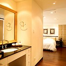 View from bathroom to bedroom